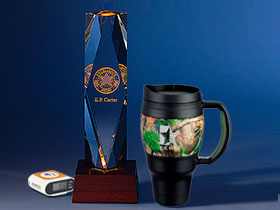 Branded pedometer, glass award and camo travel mug